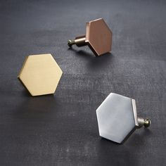 hex brushed brass drawer pull|CB2