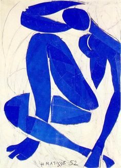 We celebrate Henri Matisse - born New Year's Eve 1869 (d. Henri Matisse: Blue Nude IV, 1952 - Gouache on paper cut-outs Henri Matisse, Matisse Art, Matisse Paintings, Matisse Museum Nice, Matisse Tattoo, Matisse Drawing, Art And Illustration, Guache, Inspiration Art