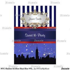 NYC Skyline Sil Blue Sky2 Blue Wht Strp Sweet 16 V