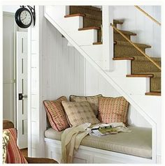 traditional living room Reading Nook from Southern Living Under Stairs Nook, Open Stairs, Under Basement Stairs, Basement Closet, White Stairs, Basement Plans, Basement Stairwell Ideas, Under Staircase Ideas, Cabinet Under Stairs