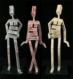 James Moore The Three Graces   aluminum   63 x 33 x 20 in  160 x 83 x 50 cm By whittling the human figure down to its elemental structure, James Moore has posed The Graces to make a bold statement in the garden or gracing a special indoor spot.