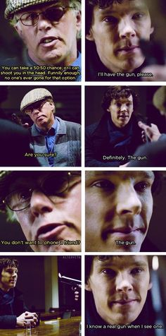 (gif set) One of my favorite scenes - Sherlock doesn't even flinch when the cabbie pulls the trigger.