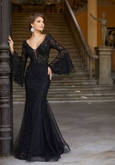 MORILEE 2018   Form fitting prom dress with beaded lace on net with bell sleeves #prom2018