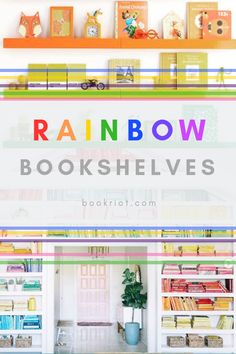 Up your own home or just enjoy looking at gorgeous bookshelf designs, these rainbow bookshelves are sure to fill all your colorfully sorted shelf needs! Library Bookshelves, Cool Bookshelves, Bookshelf Design, Bookcase Lighting, Ebook Cover Design, Bookshelf Organization, Rainbow Zebra, House Shelves, Books To Read