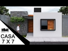 PLANOS DE CASAS PEQUEÑAS DE 7 X 7 METROS / 1 PISO - YouTube Small Modern House Exterior, Best Modern House Design, Small Modern Home, House Front Design, Minimalist House Design, Small House Design, Modern House Plans, Small House Plans, Home Building Design