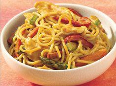 Peanut Chicken with Noodles -  http://www.bettycrocker.com/recipes/peanut-chicken-with-noodles/968b6e98-973b-44c5-b42f-8f8da4e6f00a
