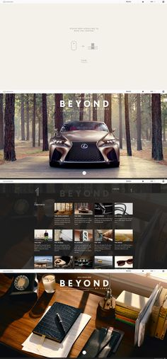 BEYOND BY LEXUS Magazine, 7 November 2013. http://www.awwwards.com/web-design-awards/beyond-by-lexus-magazine   #Promotional #jQuery #CSS3 #Animation #HTML5 #Parallax #Scroll  Website design layout. Inspirational UX/UI design sample.  Visit us at: www.sodapopmedia.com #WebDesign #UX #UI #WebPageLayout #DigitalDesign #Web #Website #Design #Layout