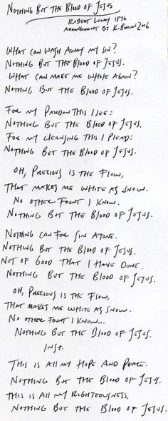 Nothing But The Blood Of Jesus, Hymn