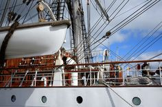 Full rigged Norway's three masted sail training ship Christian Radich, Port of Aarhus, Tall ship race 2007 Aarhus - Kotka