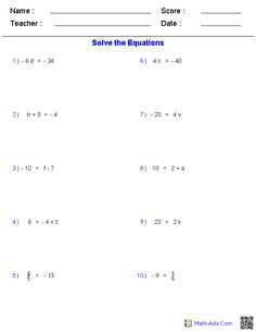 One Step Equation Worksheets Word Problems | Math-Aids.Com ...