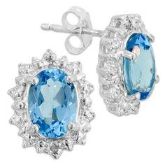Sterling Silver Oval March Birthstone Earrings with Diamonds