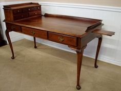 Reproduction Cherry Writing Desk Queen Anne Legs Candle Trays Ebay