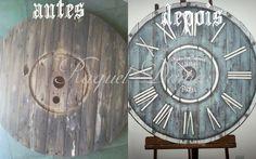 Relógio de pallet em pátina e transferência