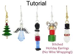 Stitched Christmas Holiday Beaded Earrings Beading Pattern Tutorial – Christmas Tree, Snowman, Angel, Soldier, Stack of Presents | Simple Bead Patterns