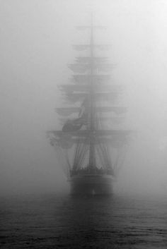 Ghost Ship- Wooden Warship in Heavy Fog. Ship Tattoo Sleeves, Old Sailing Ships, Ship Paintings, Ghost Ship, Sail Away, Ship Art, Model Ships, Tall Ships, Pirates Of The Caribbean