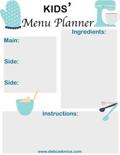 Teach your children cooking lessons with this FREE printable!