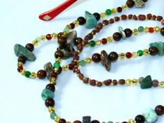 Jasper Beaded ID Badge Lanyard Holder by nonie615, $20.00 Other conversions available are key, eyeglass necklace and as a traditional necklace. Free 1st Class USPS shipping.