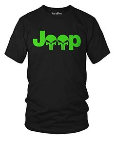 Neon Green Jeep Logo With Punisher Skull Symbol Hardcore Offroad T-Shirt