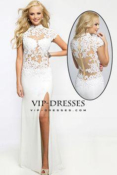 2015 Prom Dresses High Neck Sheath/Column Chiffon