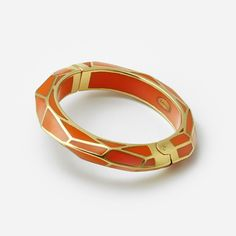 Papaya Louvre Hinge Resin Bangle by ISHARYA Jewelry