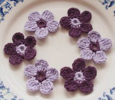 6 Crochet  Flowers In 1-1/4 inches YH - 053-04. $2.50, via Etsy.