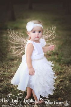 White Sweet Angel Girls Feather Apron Dress
