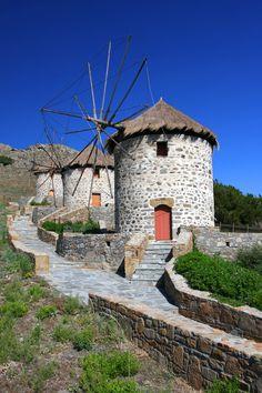 Old windmills in Limnos island, Greece Mykonos, Santorini, Beautiful Islands, Beautiful World, Beautiful Places, Samos, Old Windmills, Le Moulin, Greece Travel