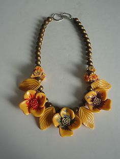 """Vintage Carved Bakelite Flowers and Leaves Necklace Painted Gold Beads 16.5"""" in Jewelry & Watches, Vintage & Antique Jewelry, Costume, Bakelite, Vintage Plastics, Necklaces & Pendants 
