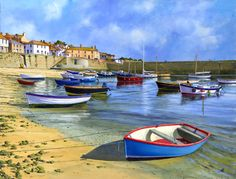 The Blue Boat, Mousehole 35 x 45 cm John Leathers, Suffolk Art Society