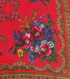 Russian red scarf Russian wool scarf babushka scarf от PRESENTUA
