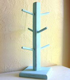 Distressed Turquoise Wooden Coffee Mug Holder Tea Cup Rack Jewelry Hanger. $22.50, via Etsy.