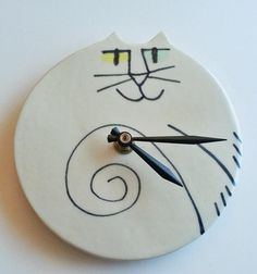 Odd Wall Clocks | wall clock: cat round odd eyed white black ceramic handmade whimsical ...
