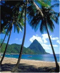 the Piton mountains, St. Our honeymoon spot! Heaven on Earth! St Lucia Honeymoon, Honeymoon Spots, Vacation Destinations, Dream Vacations, Vacation Spots, Places To Travel, Places To See, Caribbean Vacations, Caribbean Cruise