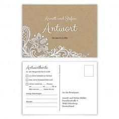 Antwortkarten Hochzeit Postkarte Vintage Brautpaar in Weiß