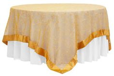 """Embroidery Swirl Overlay 90""""x90"""" Square Table Topper - Gold  - $9.99 each"""