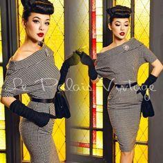 le palais vintage retro houndstooth off-shoulder dress (SIZES:XS, S, M, L,)  #Handmade #Sheath