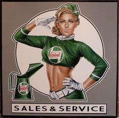 Pub Vintage, Vintage Signs, Vintage Posters, Pin Up Posters, Art Deco Posters, Garage Signs, Garage Art, Castrol Oil, Up Auto