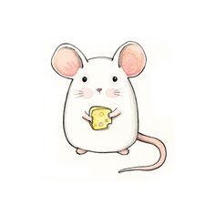 Cute mouse drawing for mug. Maus Illustration, Illustrations, Kawaii Drawings, Easy Drawings, Cartoon Drawings, Cute Little Drawings, Cute Mouse, Animal Drawings, Cute Art