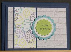 Osterkarte aus hochwertigem Kartenpapier mit dekorativen Elementen aus verschiedenen Papieren, Stanzteile und 3D Tape. Die Karte wurde in Handarbeit gefertigt.