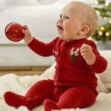 Newborn Baby Infant Boys Girls Romper Jumpsuit Outfit Red Printed Deer Baby Kids Christmas Clothes for New Year 0-18 Months(China (Mainland))