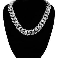 14K Solid White Gold Mens Diamond Cuban Chain 4.00 Ctw #SizzlingSummerBling @catalogs