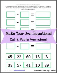 Make Your Own Equation: Free Worksheet!  Includes 2-digit subtraction with borrowing.  For 2nd grade and up.