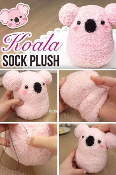 25 Easy DIY Sock Plushies and Animals You'll Want to Make this Weekend Koala-Socken-Plüsch Kids Crafts, Sock Crafts, Fun Diy Crafts, Crafts For Teens, Fabric Crafts, Craft Projects, Crafts With Socks, Diy Sock Toys, Teen Girl Crafts