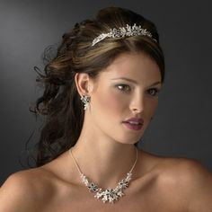 Black and White Floral Tiara with Jewelry Set