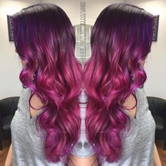 """From solid brunette to this gorgeous dimensional violet & magenta color melt! 7 hours!  I painted her whole head to the root using a baby lighted…"""