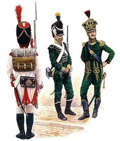 """Westfalia""   • Grenadier of the Guard, Westfalia  • Carabinier, Elite Company, Jäger-Garde, Westfalian Guard, 1808  • Colonel, Jäger-Carabinier Battalion, Westfalia, 1810"
