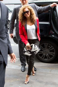 Beyonce Knowles in Dsquared2 and J Brand