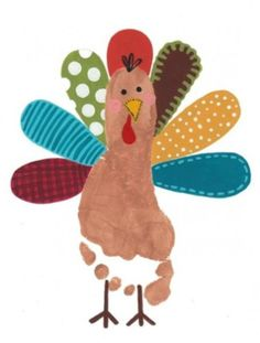 "5 Thanksgiving-Themed Crafts for Toddlers - The Bump Blog. Ha! Love the ""foot"" turkey idea."