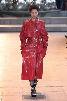 For unseasonably warm winter days (too cold for a jacket, too hot for a wool coat), take a note from Isabel Marant. A patent trench coat will offer you more warmth than its lightweight counterpart, without causing you to overheat.