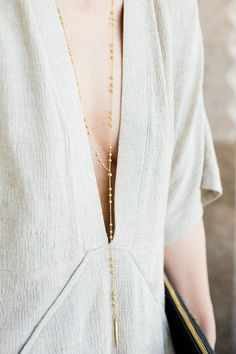 Long Delicate Beaded Gold Necklace - Minimalist Gold Necklace